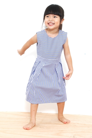 Vivienne Pinstriped Dress in Blue (Baby Charm)