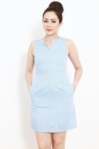 Bella Sheath in Blue Pinstripes