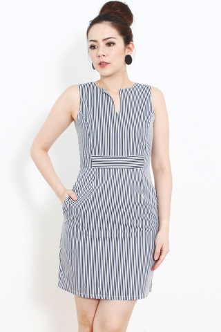 Bella Sheath in Navy Pinstripes