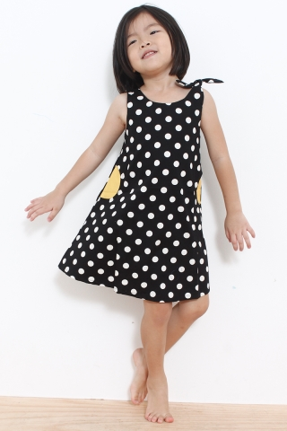 May in Polka Dot Black  (Little Charm Girl)
