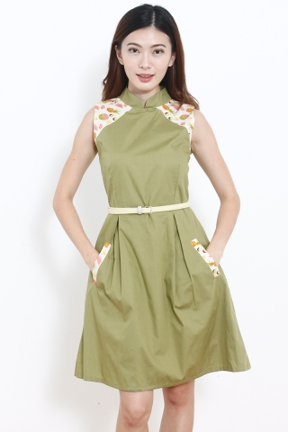 Geisha in Olive (TALL)  (Last piece in L )