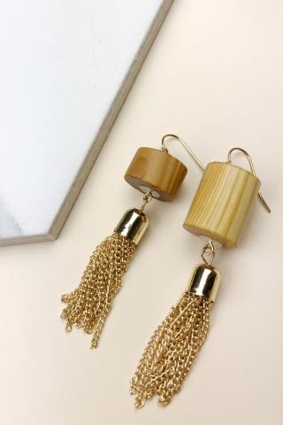 Asymmetrical Firewood Earrings