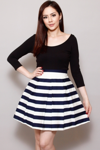 Cynthia in Navy Peppermint Skirt