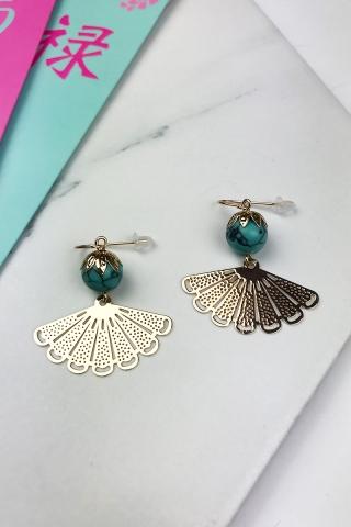Turquoise Oriental Fan Earring