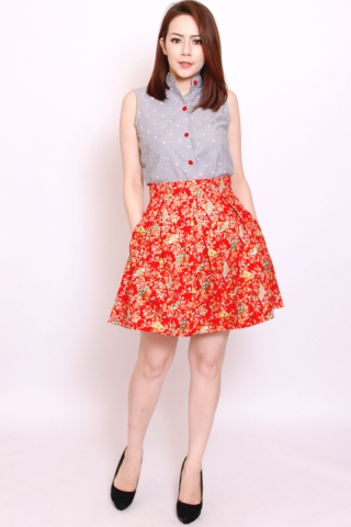 Vonce Skirt in Scarlet