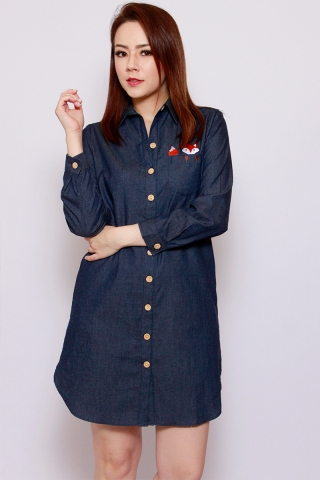 *PREORDER*[EW] Funny Fabian - The Fox Shirtdress Dark Wash