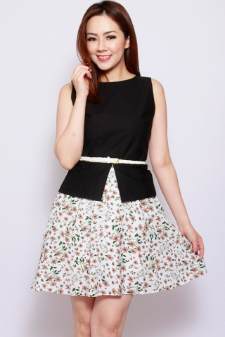Sharlize Peplum Dress in Black