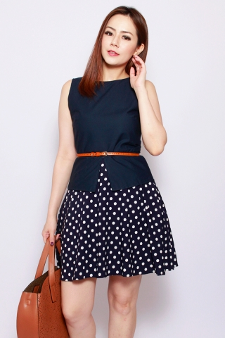 Sharlize Peplum Dress in Navy