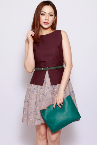 Sharlize Peplum Dress in Plum