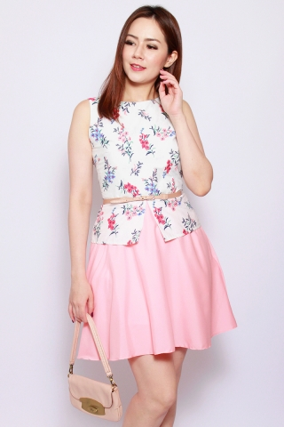 Sharlize Peplum Dress in Sweet Pea