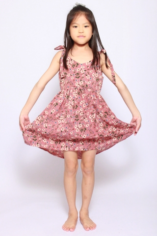 Eleonore Merry Dress in Rust (Little Charm Girl)