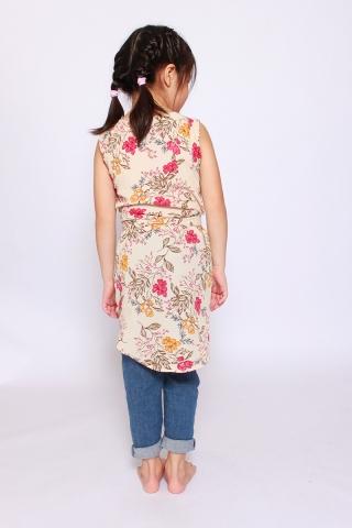 Fantine Shirt Dress in Parchment Floral  (Little Girl Charm)