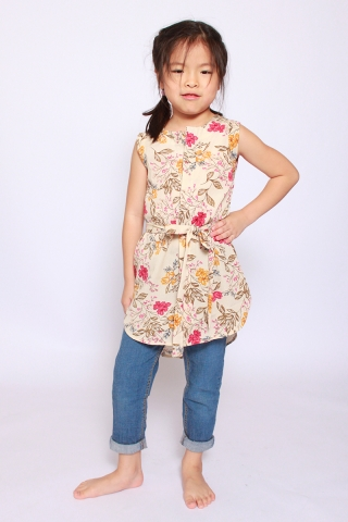 Fantine Shirt Dress in Parchment Floral  (Little Girl Charm)