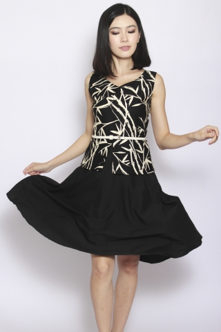 Sharlize Peplum Dress in Black Kyoto (Tall)