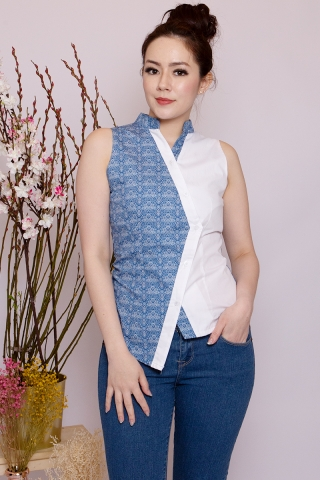 Lebaya Top in Batik Blue