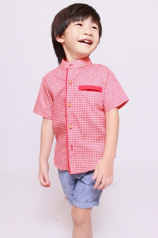 Haruyo Shirt in Red Gingham (Little Boy)