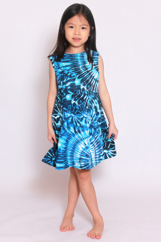 Take Me to the Beach Dress - Blue Tie Dye (Little Girl)