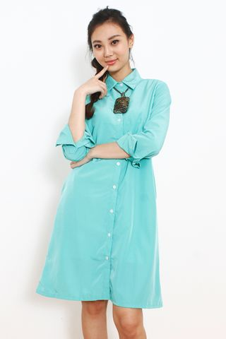 Seville Shirt Dress in Mint