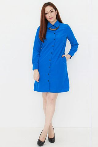 Seville Shirt Dress in Cobalt