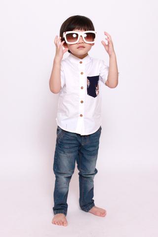 Kai in Majestic Cranes Top (Little Boy Charm)