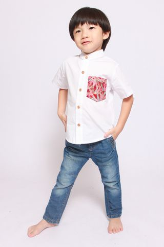 Lebaya Shirt in Red (Little Boy)