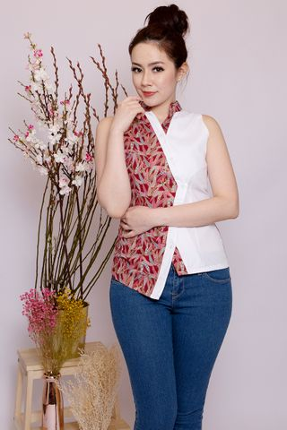 Lebaya Shimmer Top in Red