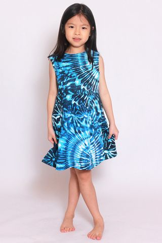Take Me to the Beach Dress - Blue Tie Dye (Little Girl)