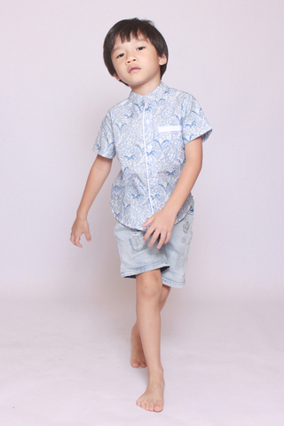 Sofia Dropwaist in Sea Paisley (Little Boy)