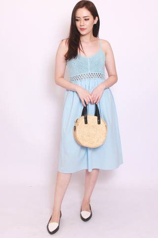 Vignette Crochet Dress in Powder Blue