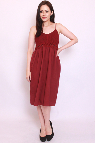 Vignette Crochet Dress in Wine
