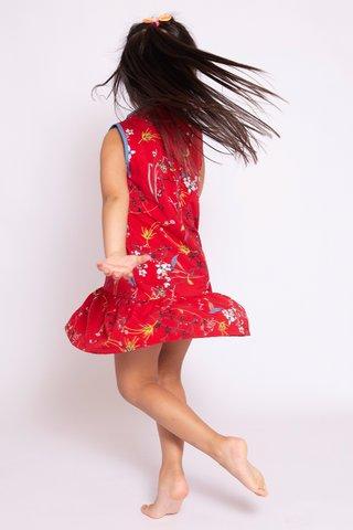 Sassy Dropwaist Orient in Red (Girls) - Easycare