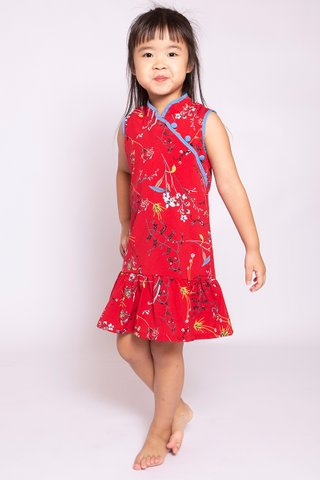 Sassy Dropwaist Orient in Red (Girls) - Easycare