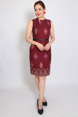 Henrietta Sheath in Wine Batik (Tall)