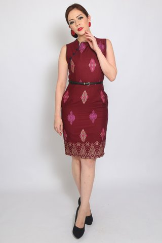 Henrietta Sheath in Wine Batik (Tall)