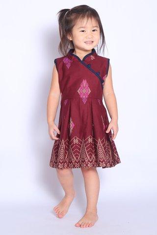 Henrietta Dress in Wine Batik (Girls)