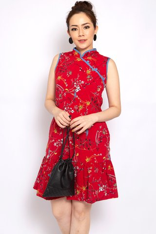 Sassy Dropwaist Orient in Red (Tall) - Easycare