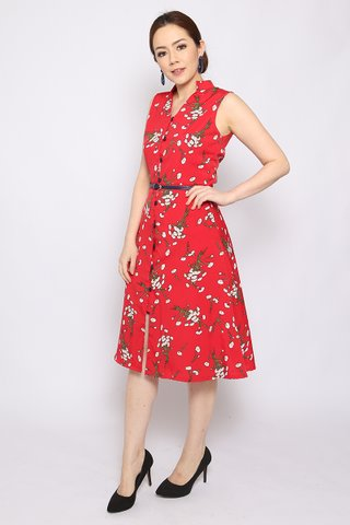 Isabella Button-down in Red (Midi) - Easycare