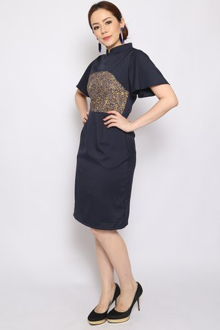 Fang Oriental in Navy (Tall) - Easycare