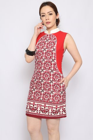 Xing Orient in Red Azulejo - Easycare