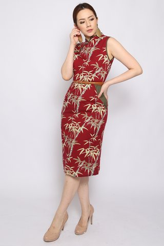 Showstopper Pencil Dress in Wine - Midi