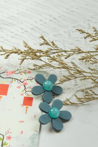 Wooden Flower Earrings in Teal