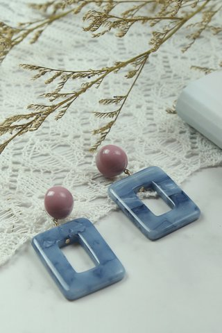 Blue Rect Marble Earrings