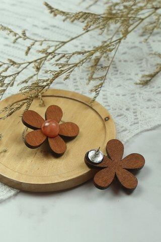 Wooden Flower Earrings in Walnut