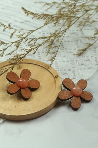 Wooden Flower Earrings in Walnut