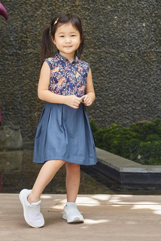 Belle Dress in Navy Fan (Girls) - Shimmer