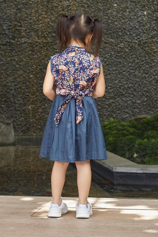 Belle Dress in Navy Fan (Girls) - Shimmer