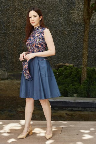 *BACKORDER FOR SIZE M*  Belle Orient in Navy Fan (Tall) - Shimmer